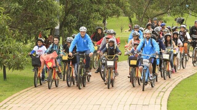Group of bikers in the bike school